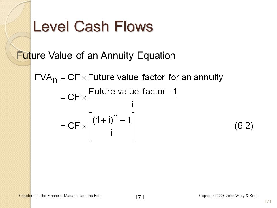 Level Cash Flows Future Value of an Annuity Equation