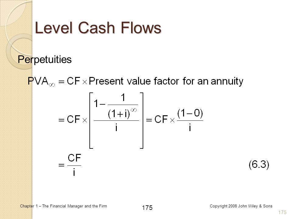 Level Cash Flows Perpetuities