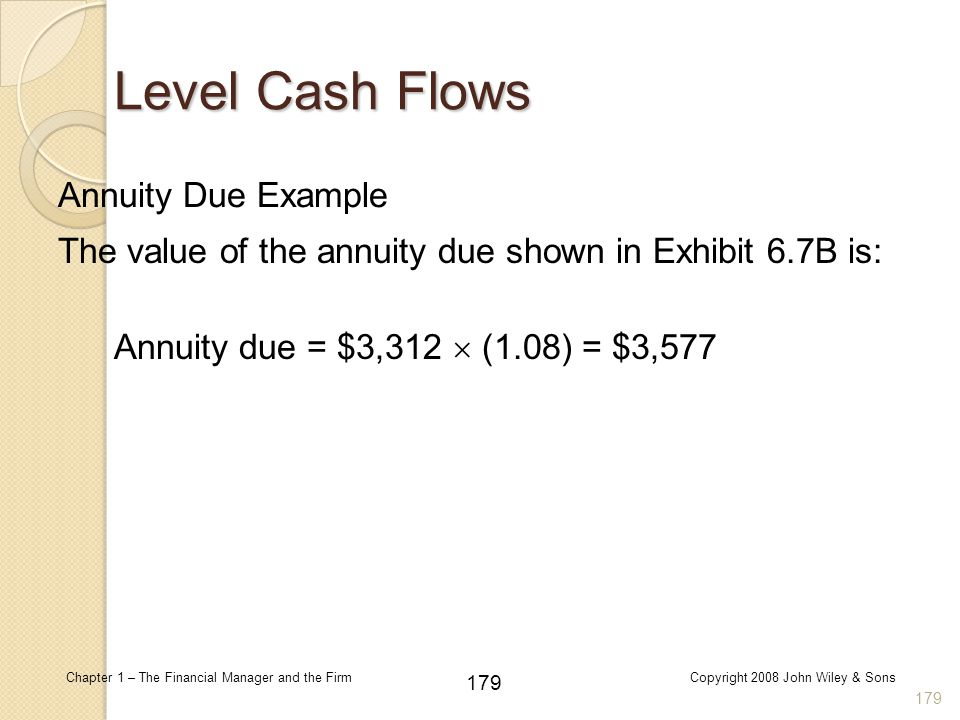 Level Cash Flows Annuity Due Example