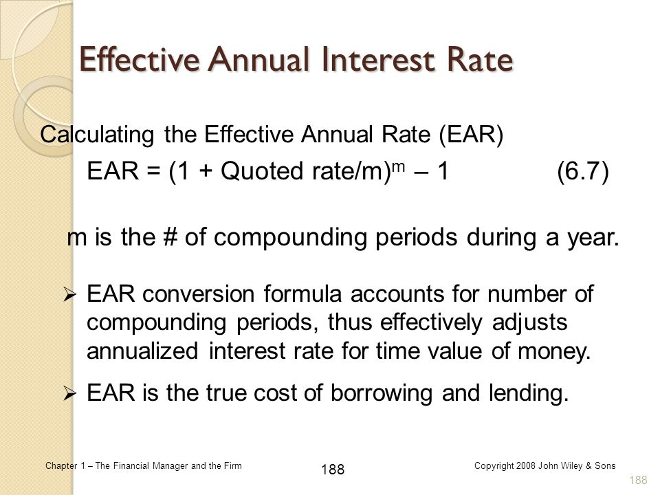Calculating the Effective Annual Rate (EAR)