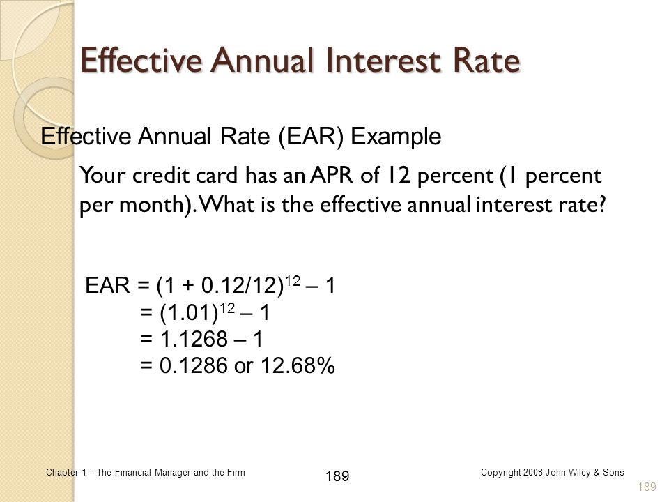 Effective Annual Rate (EAR) Example