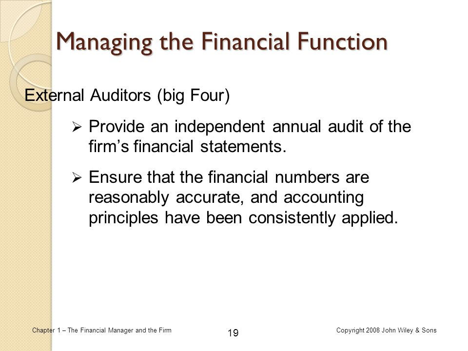 Managing the Financial Function