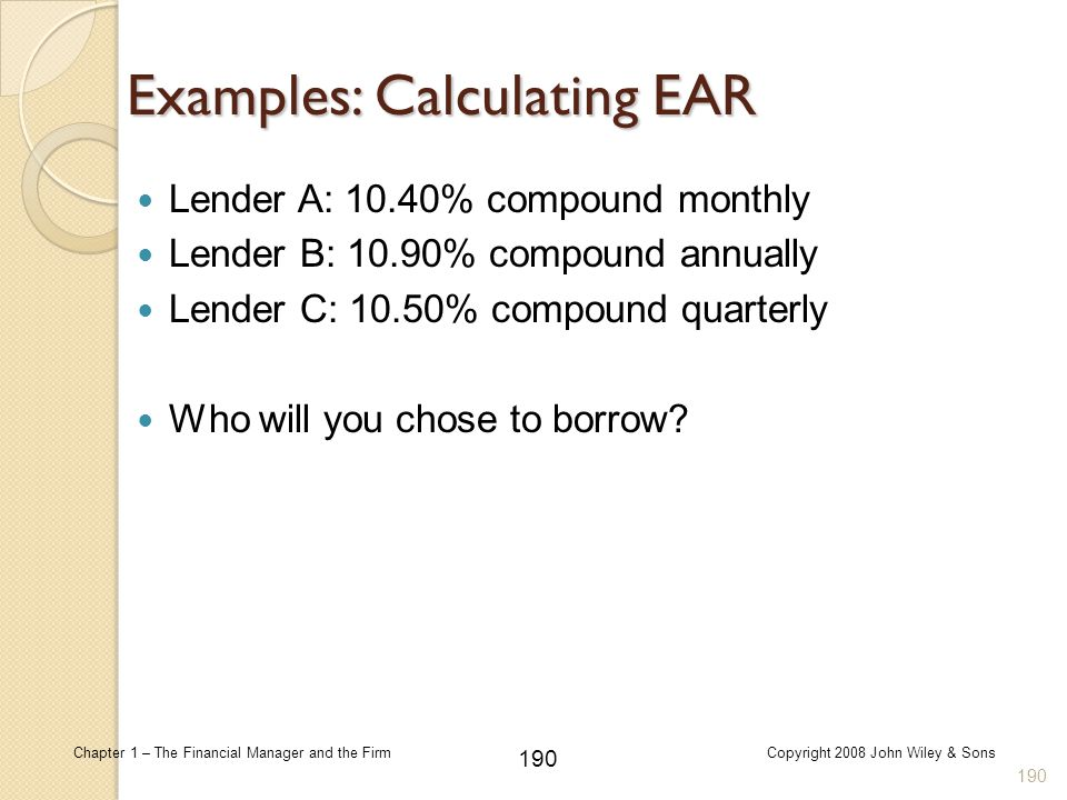 Examples: Calculating EAR