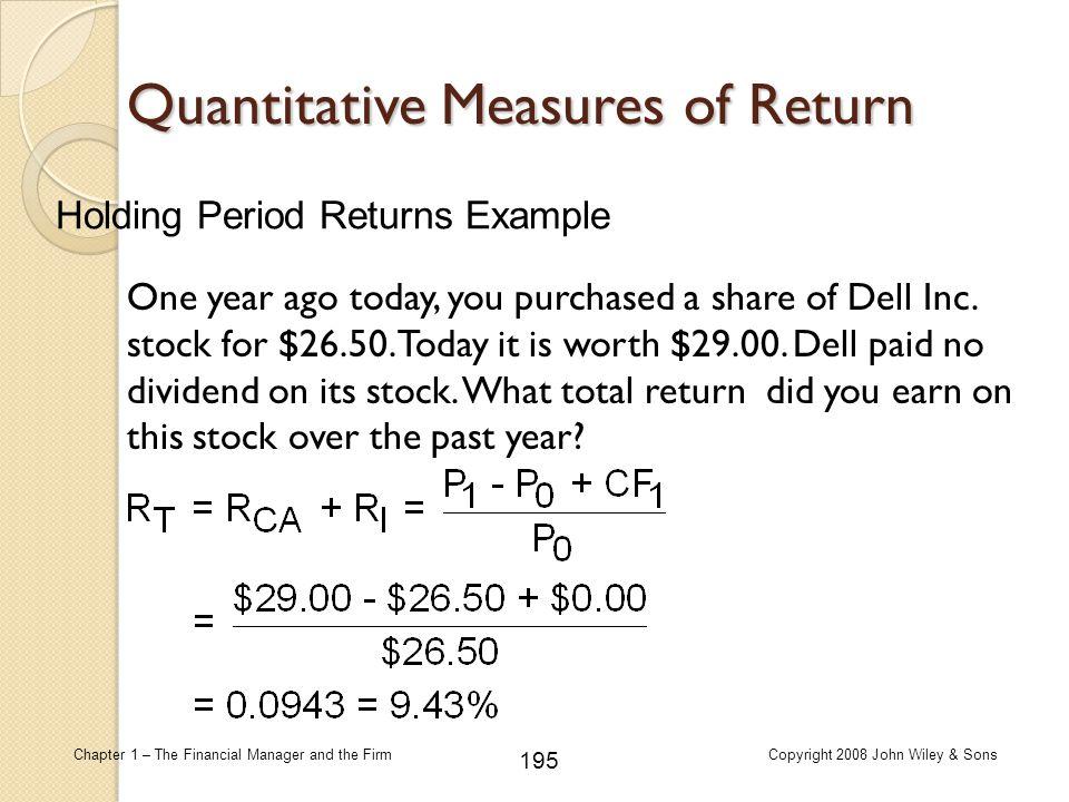 Quantitative Measures of Return