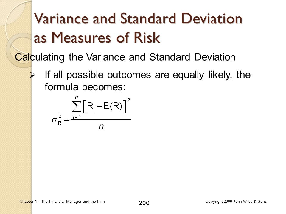Variance and Standard Deviation as Measures of Risk