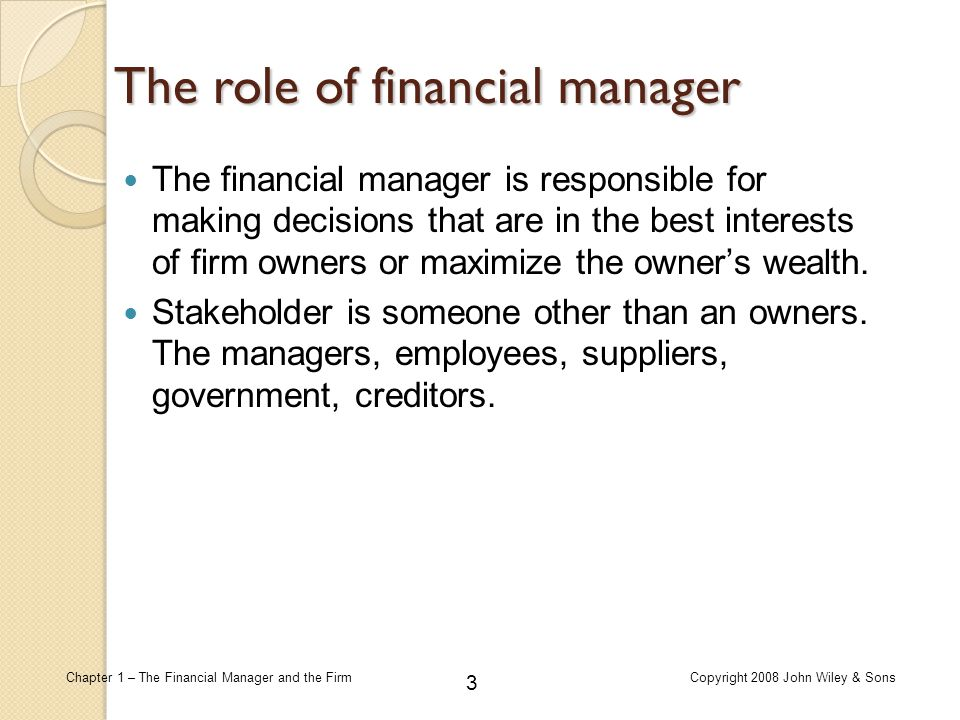The role of financial manager