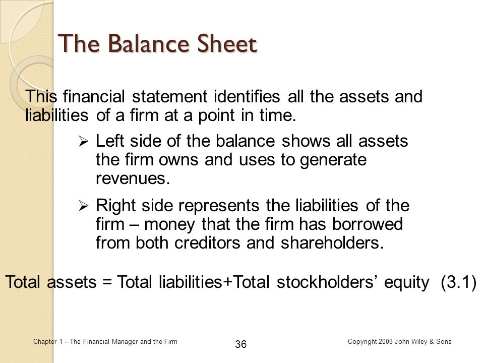 The Balance Sheet This financial statement identifies all the assets and liabilities of a firm at a point in time.