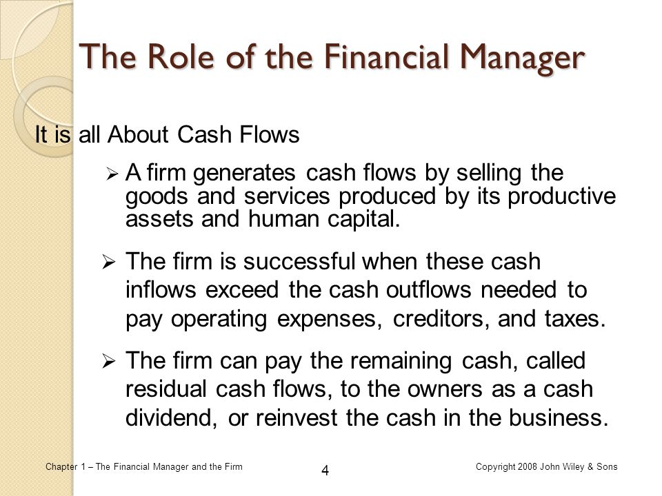 role of financial manager essay Details the role of the financial manager/cfo due to the increasingly complex nature of corporate finance, more and more corporations are tapping their chief.
