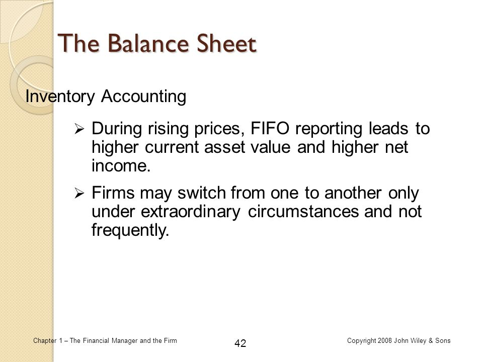 The Balance Sheet Inventory Accounting