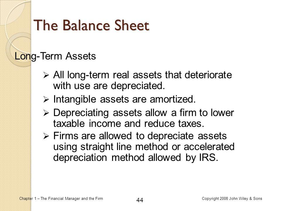 The Balance Sheet Long-Term Assets