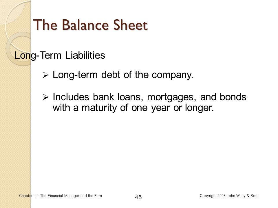 The Balance Sheet Long-Term Liabilities Long-term debt of the company.
