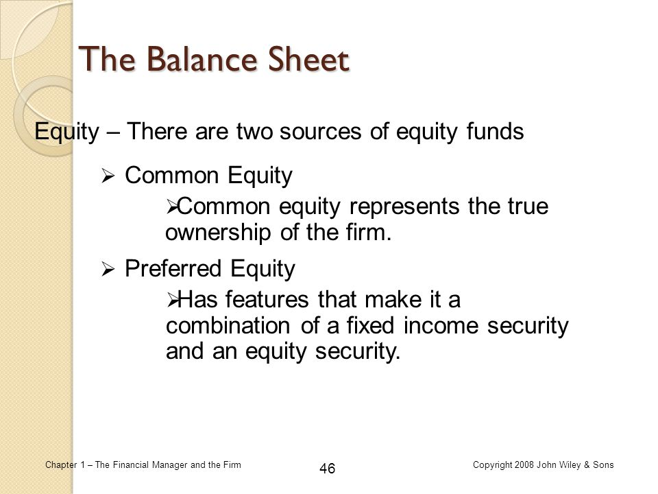 The Balance Sheet Equity – There are two sources of equity funds