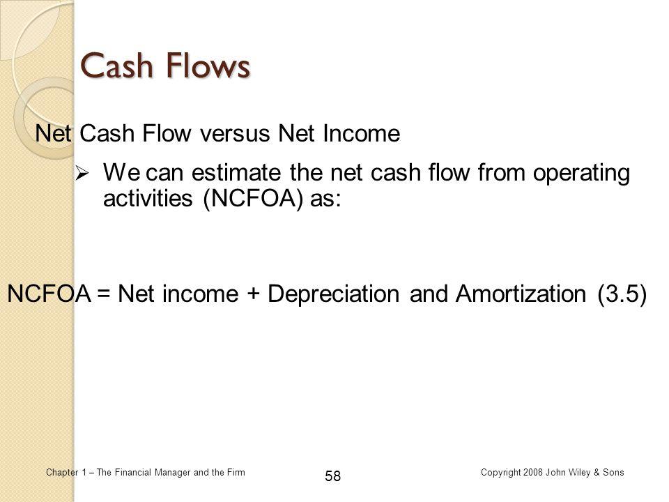 Cash Flows Net Cash Flow versus Net Income