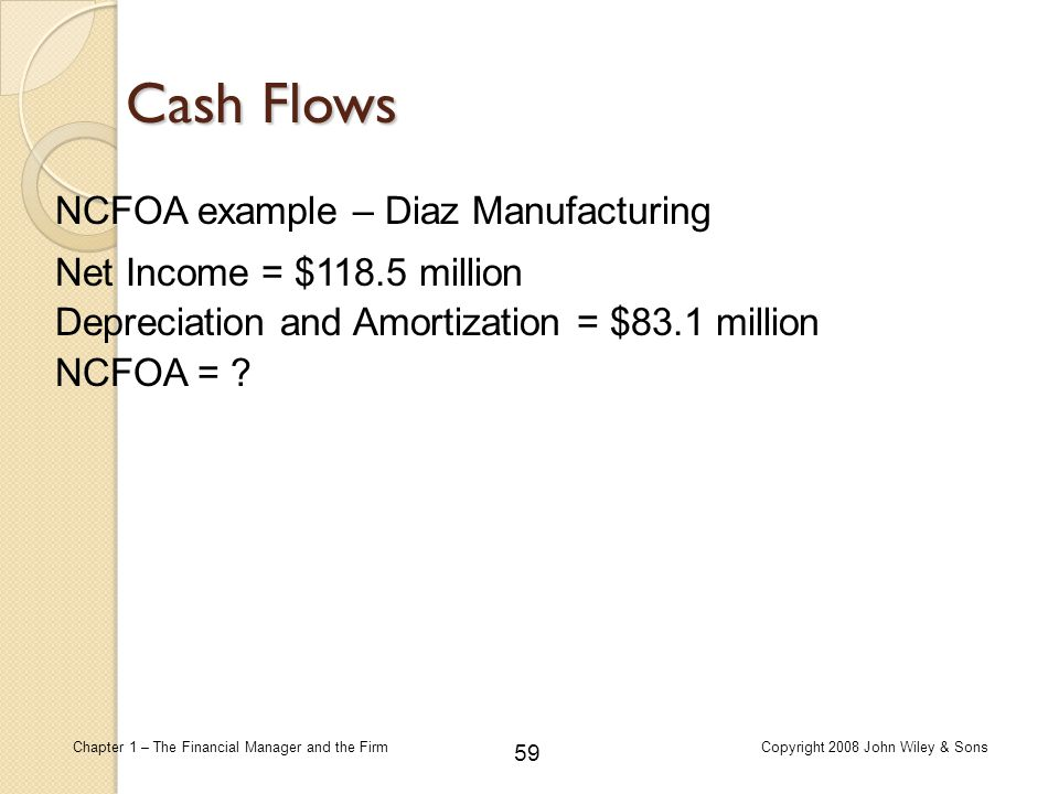 Cash Flows NCFOA example – Diaz Manufacturing