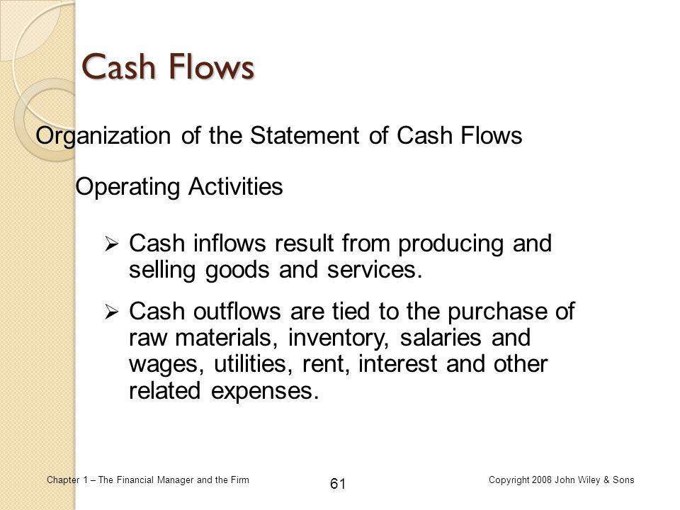 Cash Flows Organization of the Statement of Cash Flows