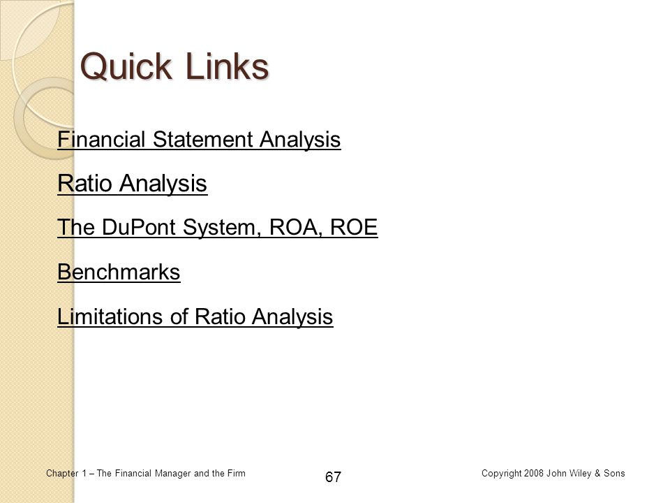 Quick Links Ratio Analysis Financial Statement Analysis