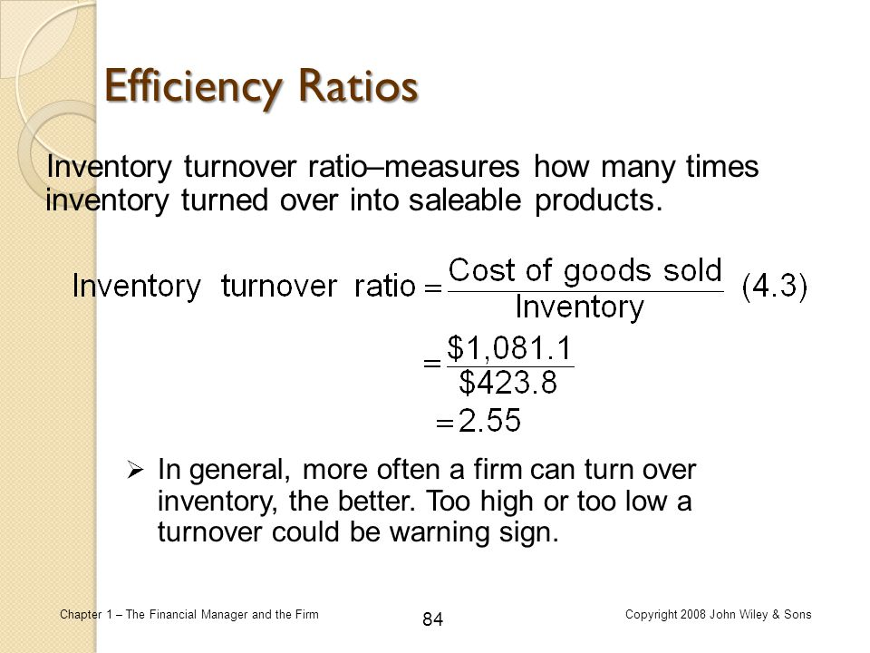 Efficiency Ratios Inventory turnover ratio–measures how many times inventory turned over into saleable products.