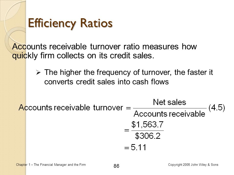 Efficiency Ratios Accounts receivable turnover ratio measures how quickly firm collects on its credit sales.