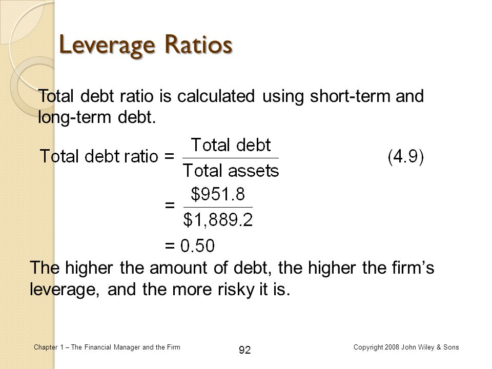 Leverage Ratios Total debt ratio is calculated using short-term and long-term debt.