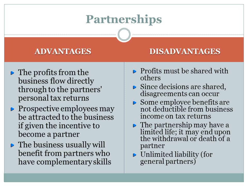 Partnerships ADVANTAGES. DISADVANTAGES. The profits from the business flow directly through to the partners personal tax returns.