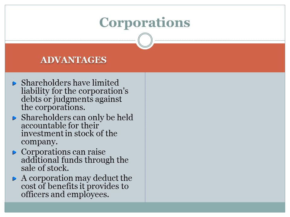 Corporations ADVANTAGES