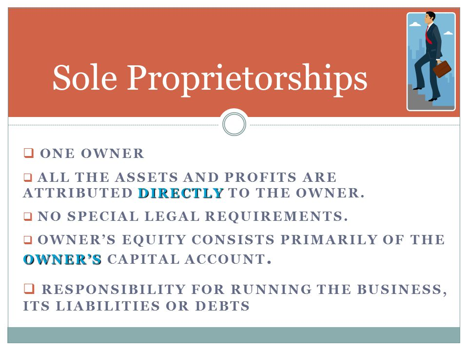 Sole Proprietorships One Owner. ALL THE ASSETS AND Profits are attributed directly to the owner. No special legal requirements.