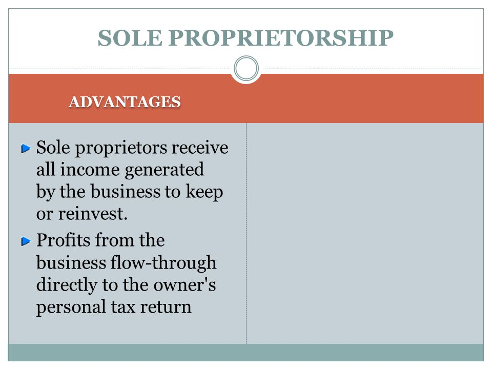 SOLE PROPRIETORSHIP ADVANTAGES. Sole proprietors receive all income generated by the business to keep or reinvest.