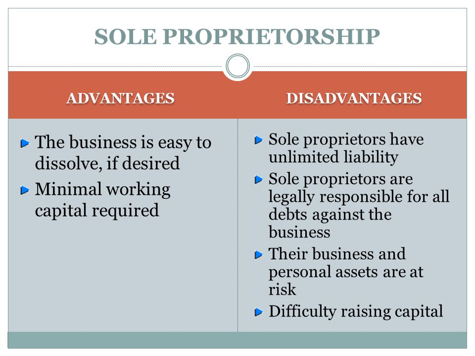 SOLE PROPRIETORSHIP The business is easy to dissolve, if desired