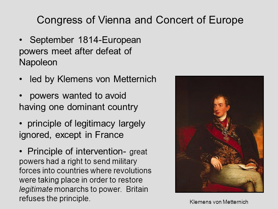 Congress of Vienna and Concert of Europe