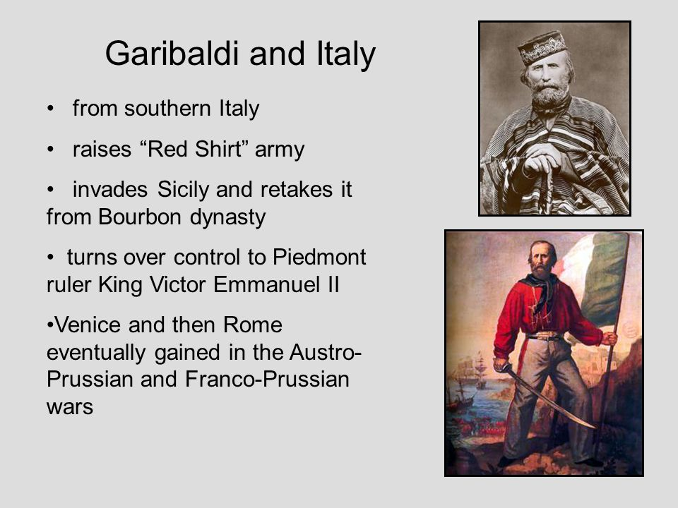 Garibaldi and Italy from southern Italy raises Red Shirt army