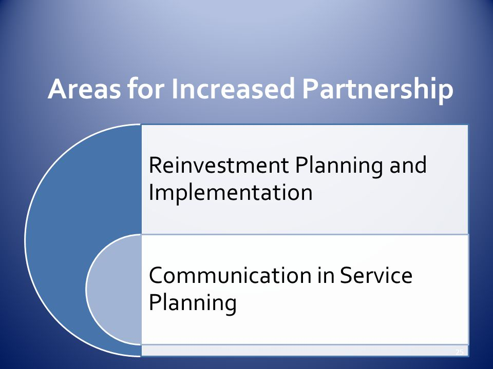 Areas for Increased Partnership