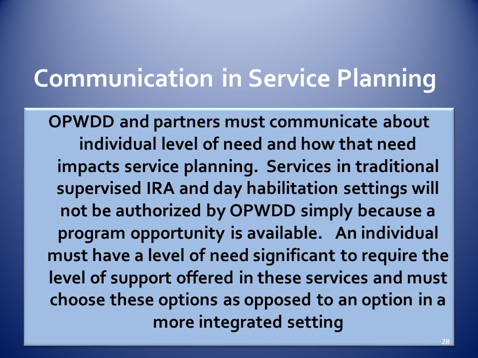 Communication in Service Planning