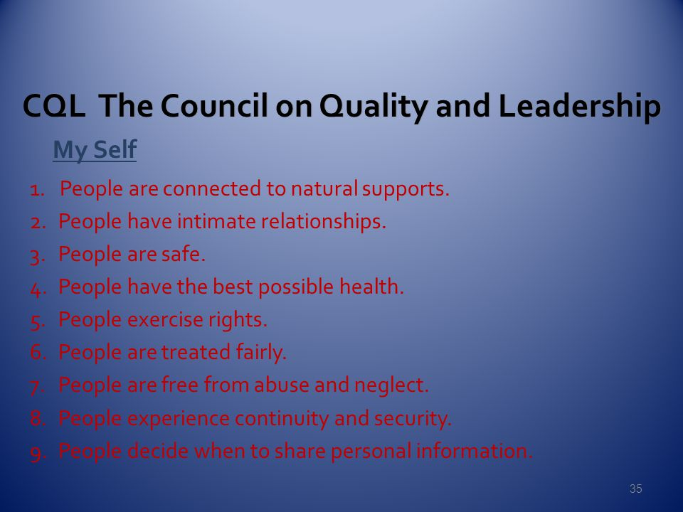 CQL The Council on Quality and Leadership