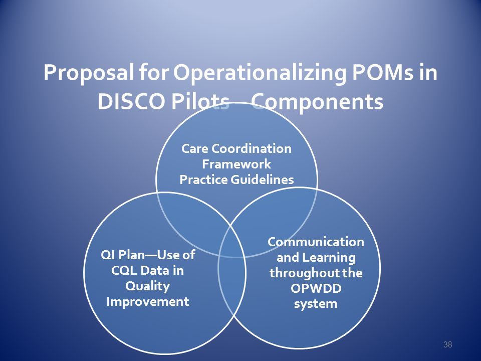 Proposal for Operationalizing POMs in DISCO Pilots – Components