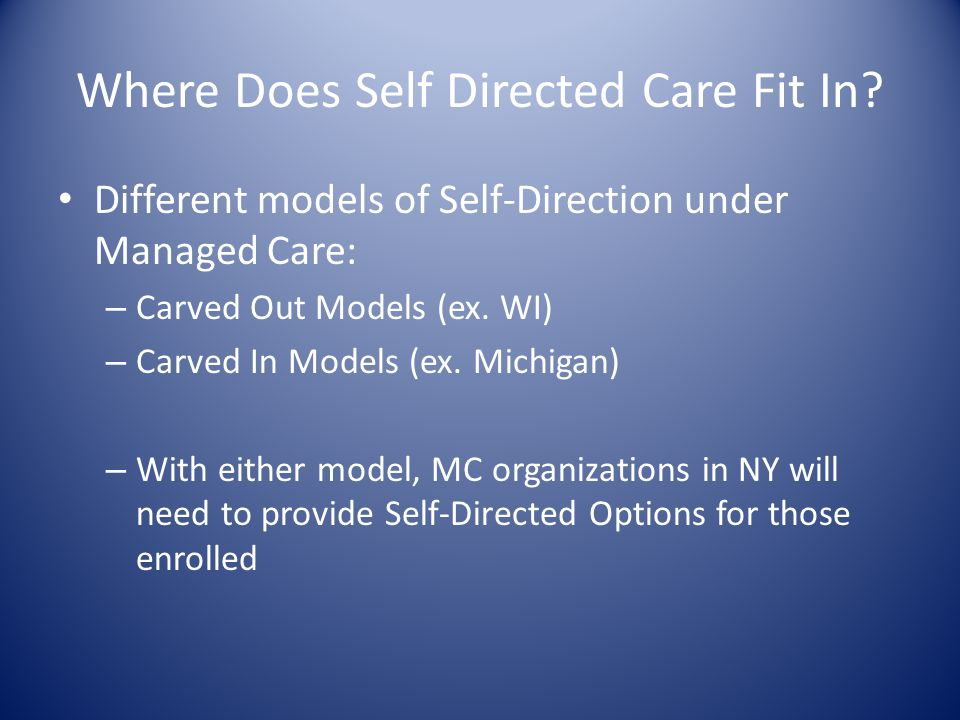 Where Does Self Directed Care Fit In