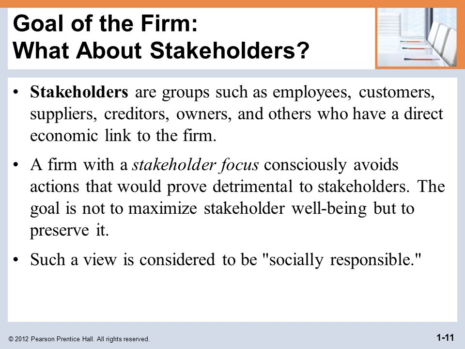 Goal of the Firm: What About Stakeholders