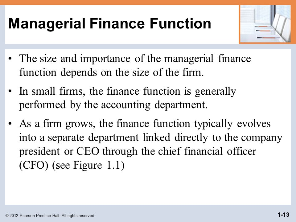 Managerial Finance Function