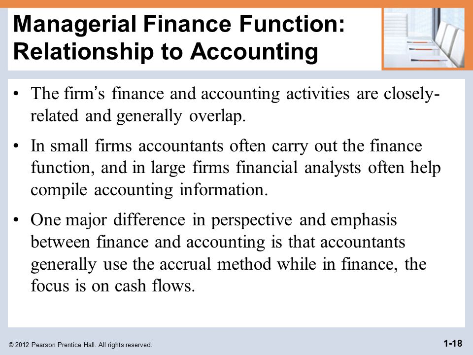 Managerial Finance Function: Relationship to Accounting