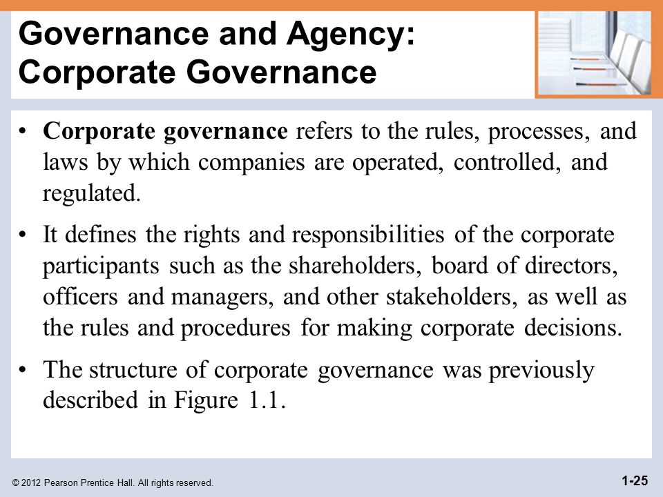 Governance and Agency: Corporate Governance