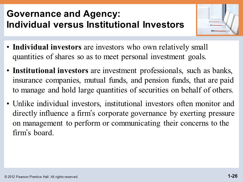 Governance and Agency: Individual versus Institutional Investors
