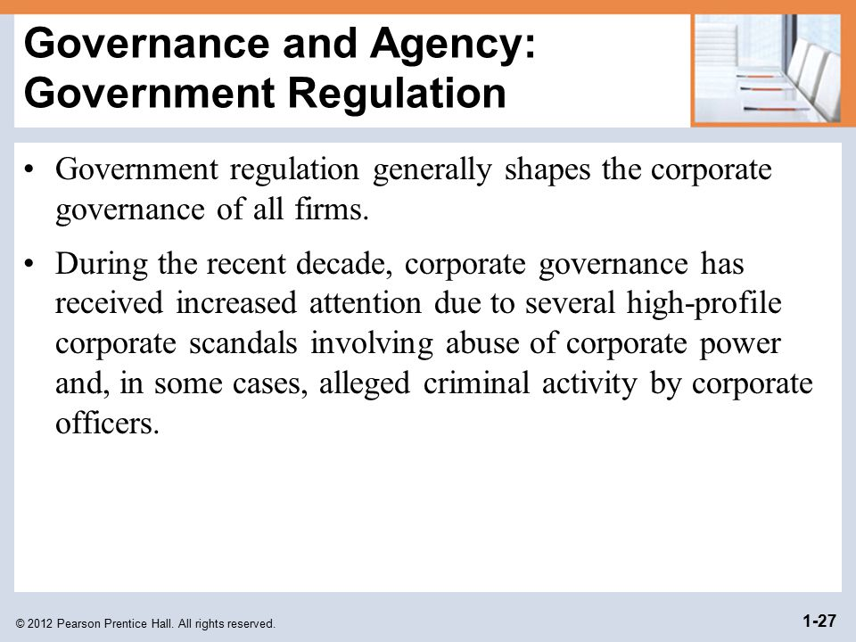 Governance and Agency: Government Regulation