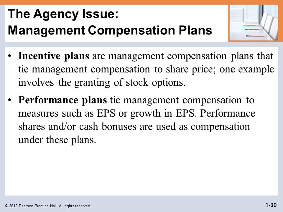 The Agency Issue: Management Compensation Plans