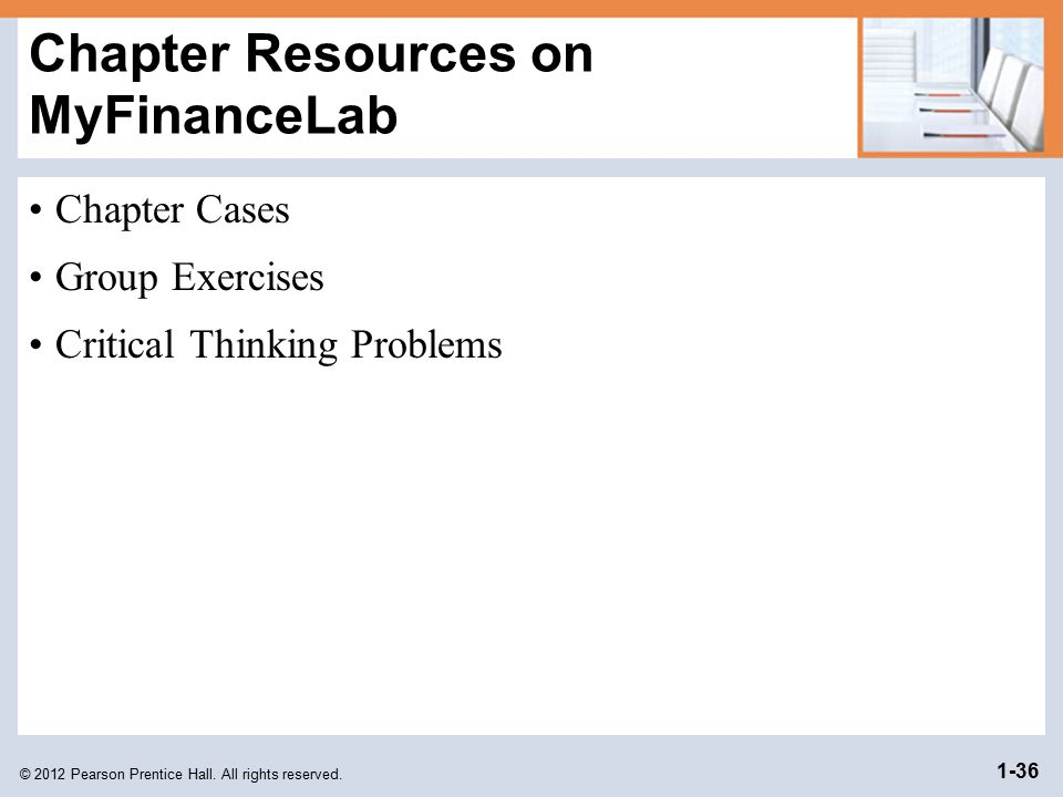 Chapter Resources on MyFinanceLab