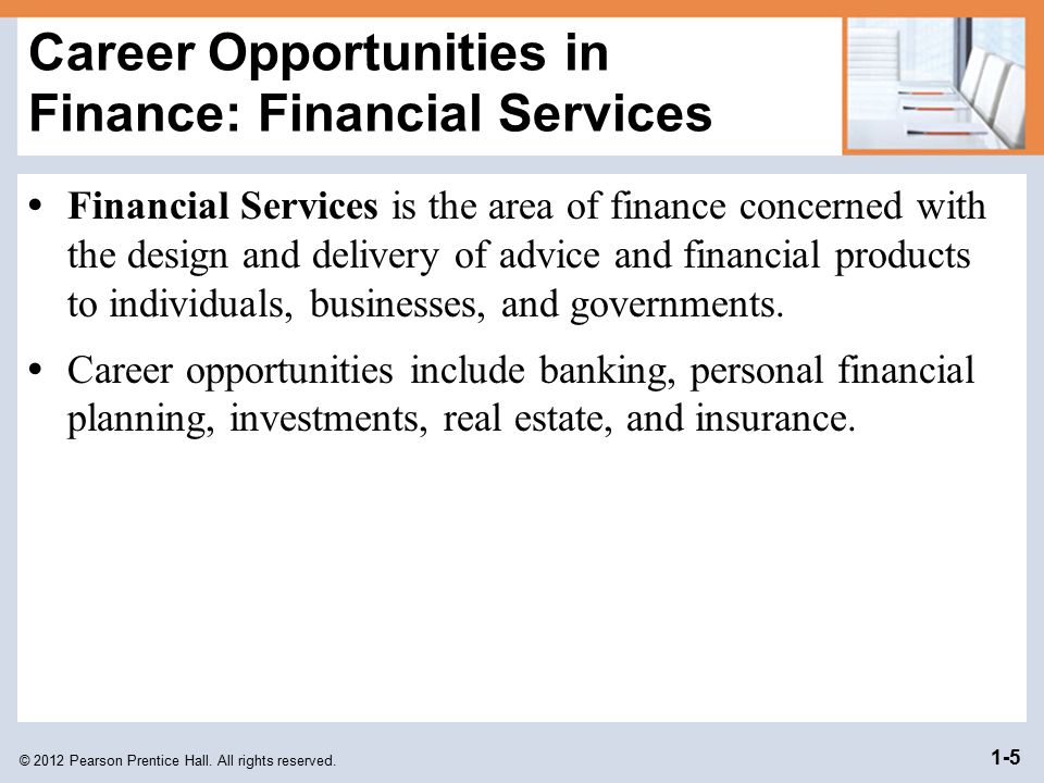 Career Opportunities in Finance: Financial Services