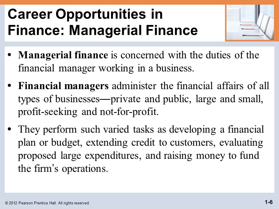 Career Opportunities in Finance: Managerial Finance