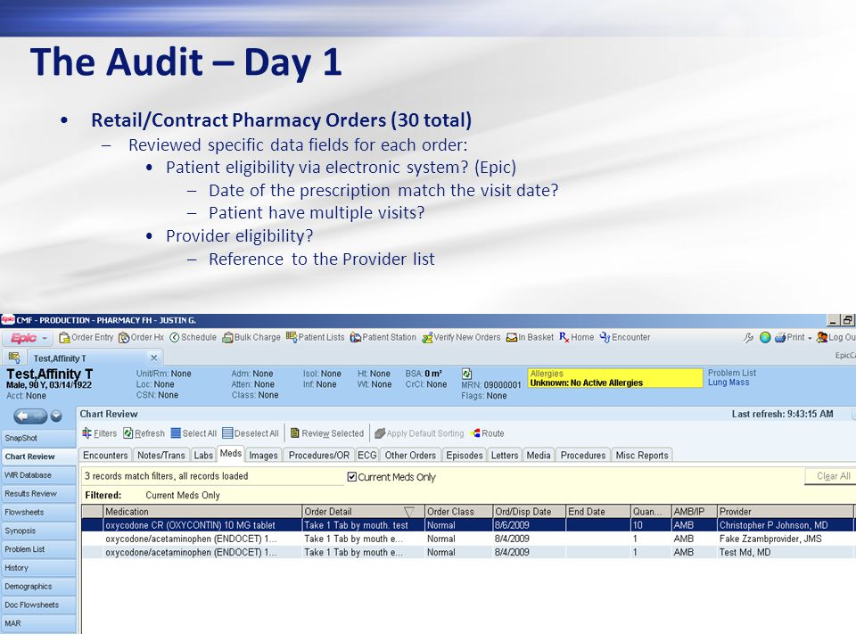 The Audit – Day 1 Retail/Contract Pharmacy Orders (30 total)