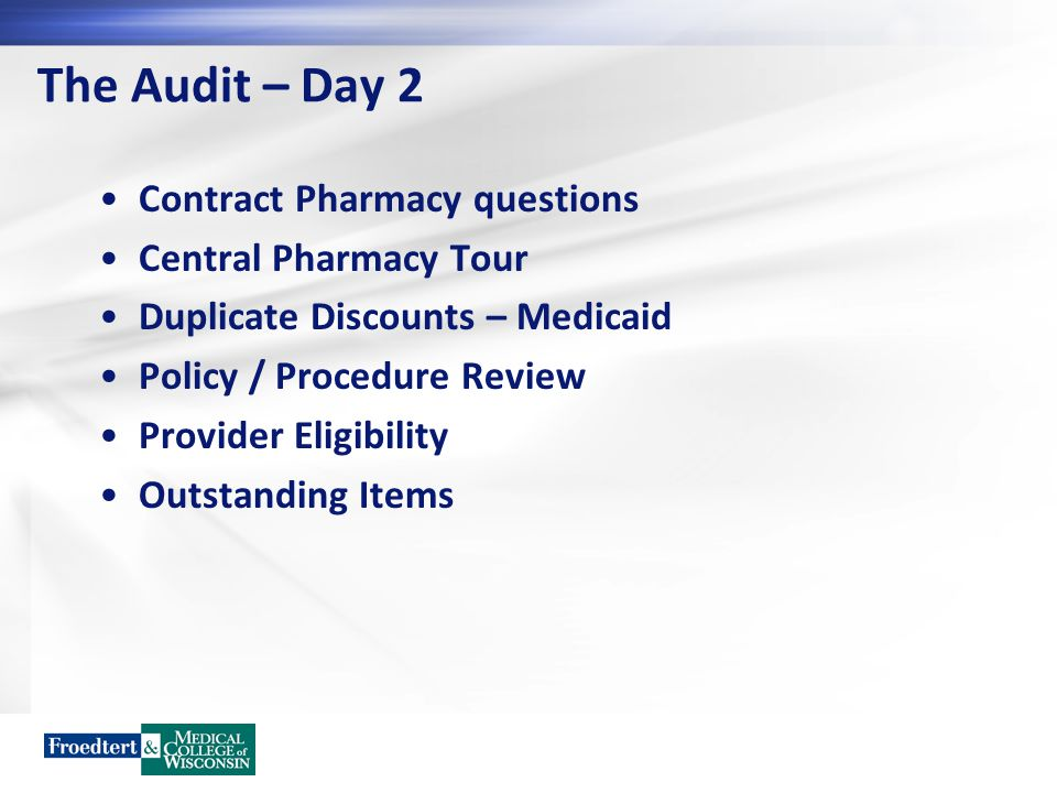 The Audit – Day 2 Contract Pharmacy questions Central Pharmacy Tour