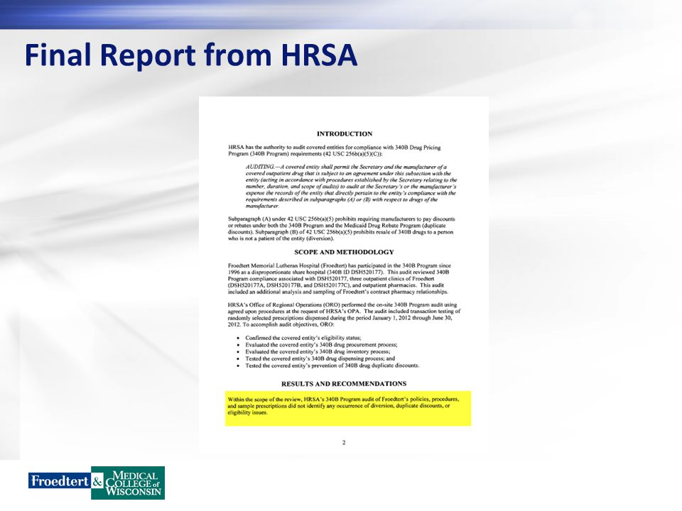 Final Report from HRSA