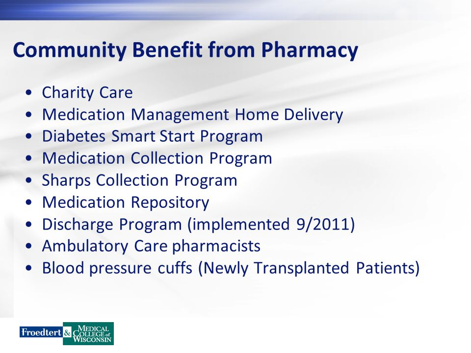 Community Benefit from Pharmacy