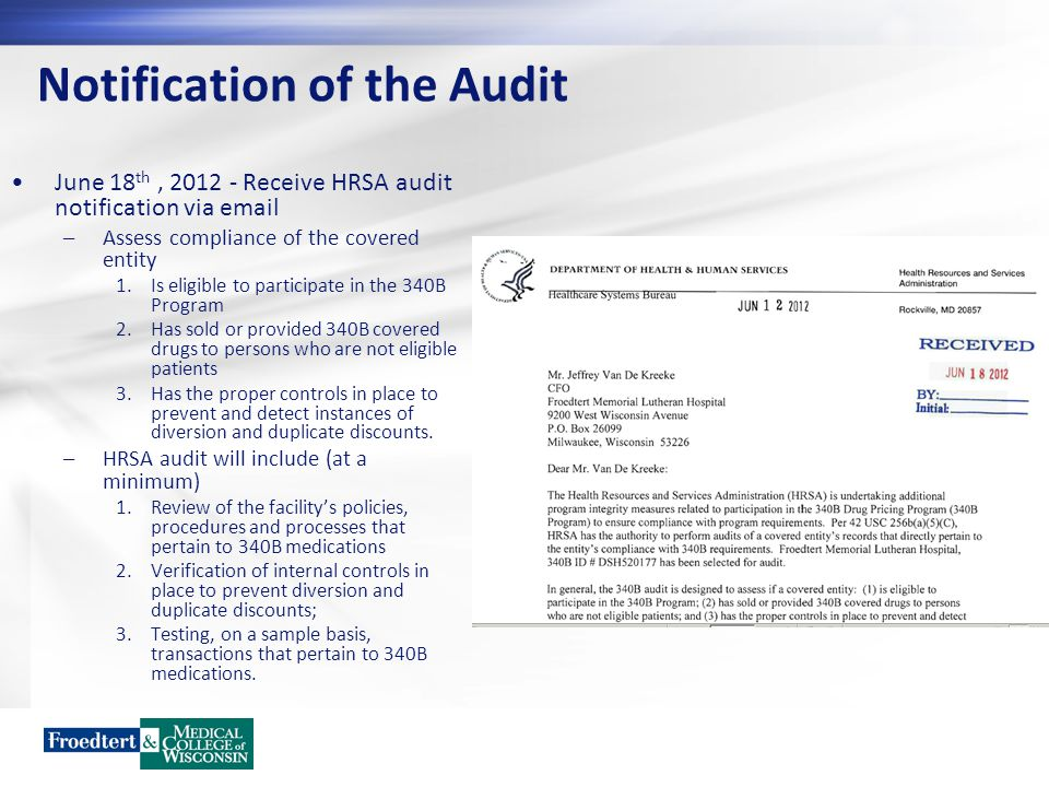 Notification of the Audit